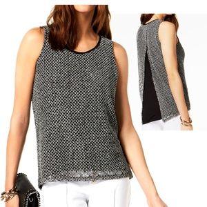 INC Crochet Sequin Split Back Top Black White L